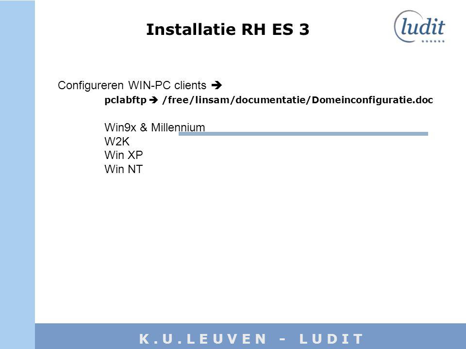 K. U. L E U V E N - L U D I T Configureren WIN-PC clients  pclabftp  /free/linsam/documentatie/Domeinconfiguratie.doc Win9x & Millennium W2K Win XP