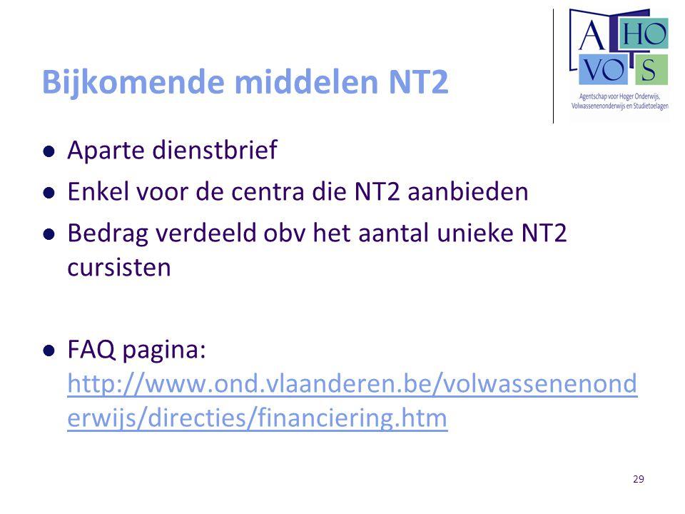Bijkomende middelen NT2 Aparte dienstbrief Enkel voor de centra die NT2 aanbieden Bedrag verdeeld obv het aantal unieke NT2 cursisten FAQ pagina: http