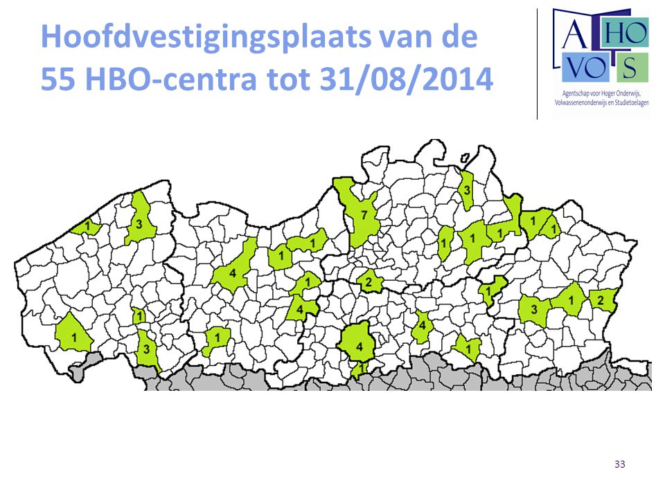 Hoofdvestigingsplaats van de 55 HBO-centra tot 31/08/2014 33