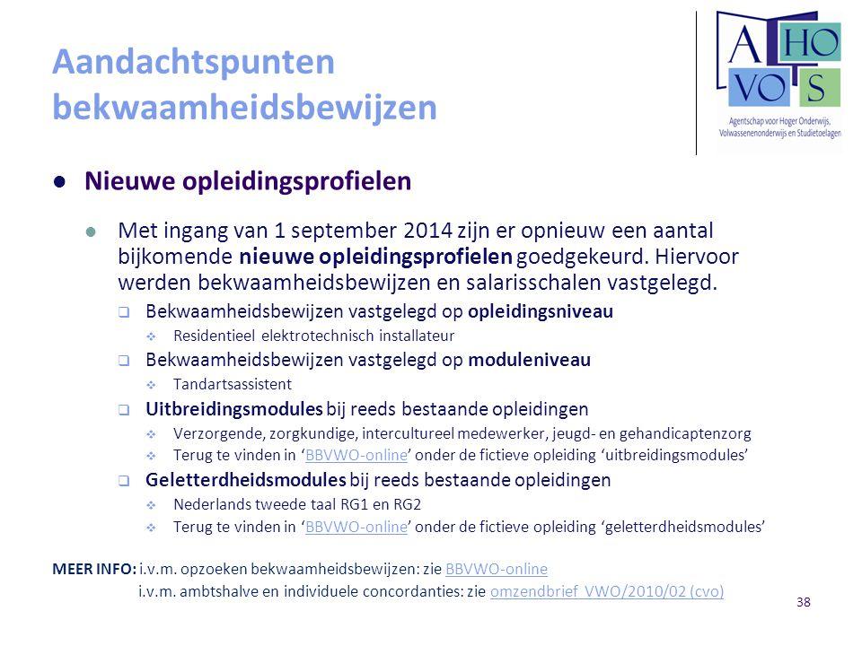 Aandachtspunten bekwaamheidsbewijzen Nieuwe opleidingsprofielen Met ingang van 1 september 2014 zijn er opnieuw een aantal bijkomende nieuwe opleiding