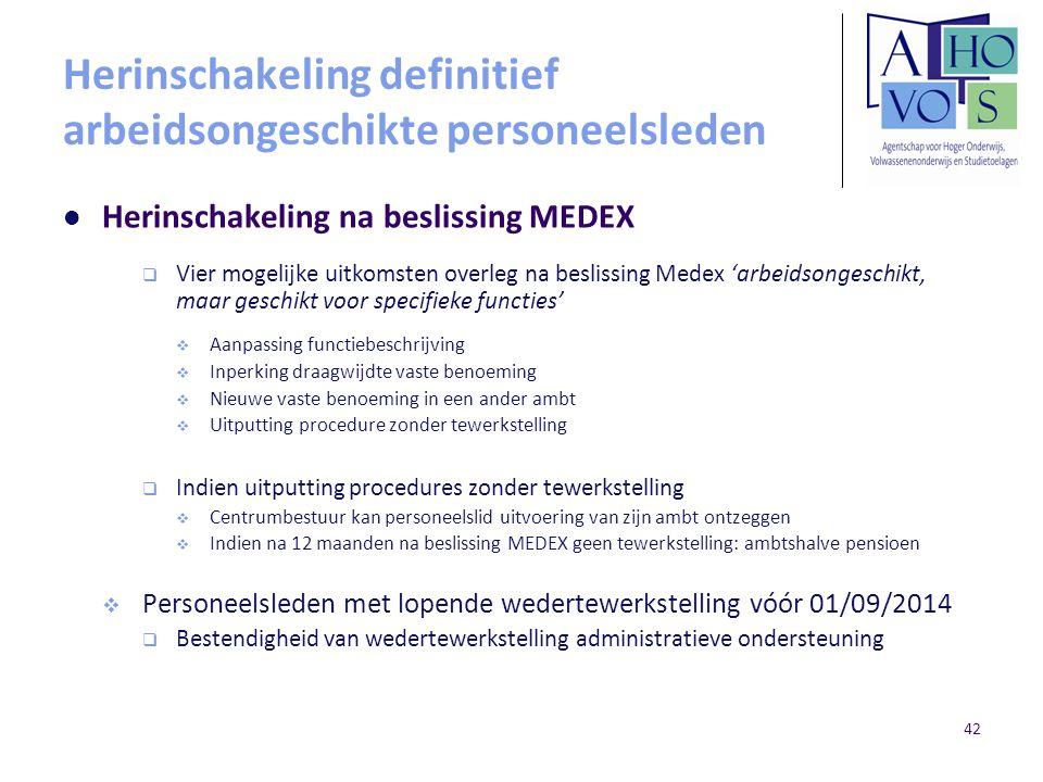 Herinschakeling definitief arbeidsongeschikte personeelsleden Herinschakeling na beslissing MEDEX  Vier mogelijke uitkomsten overleg na beslissing Me