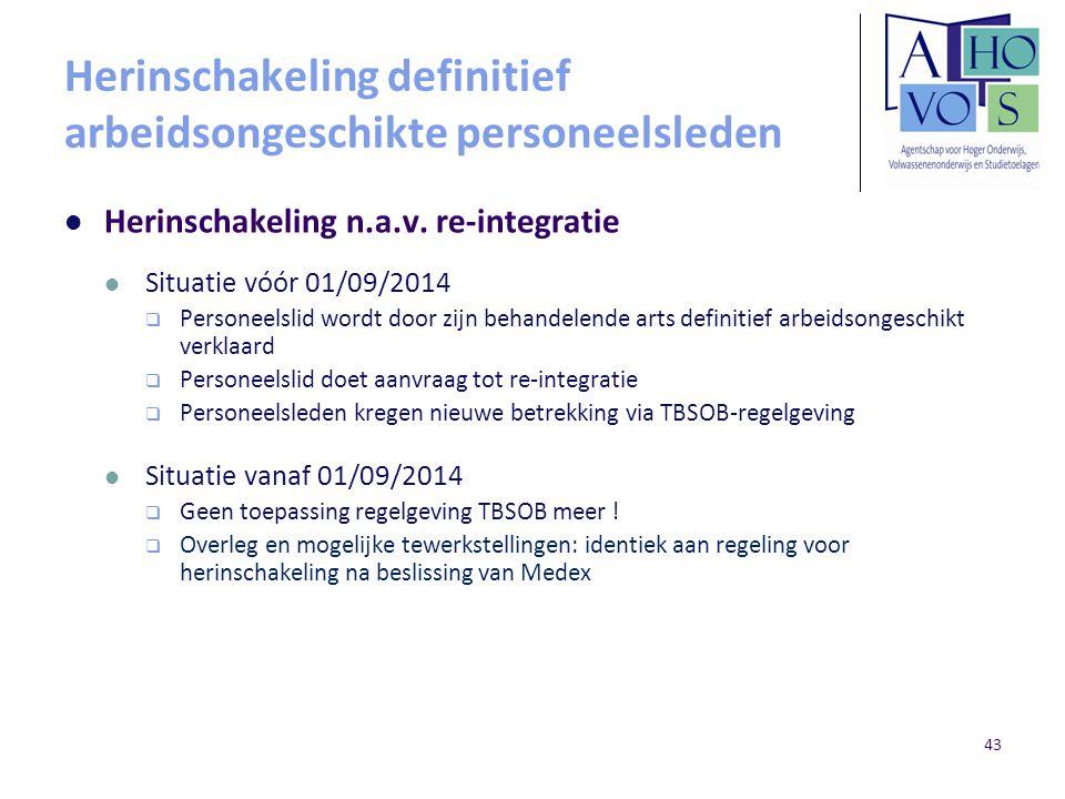 Herinschakeling definitief arbeidsongeschikte personeelsleden Herinschakeling n.a.v. re-integratie Situatie vóór 01/09/2014  Personeelslid wordt door