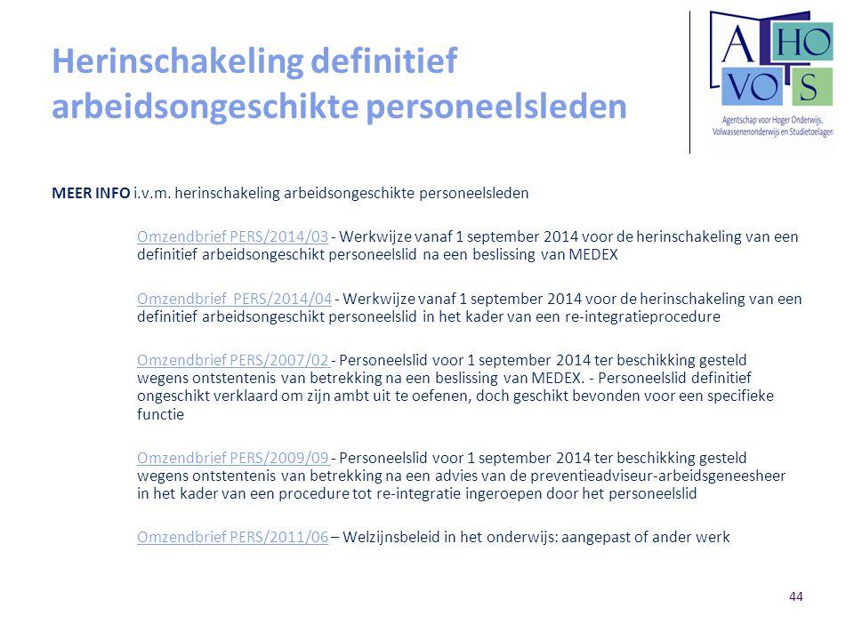 Herinschakeling definitief arbeidsongeschikte personeelsleden MEER INFO i.v.m. herinschakeling arbeidsongeschikte personeelsleden Omzendbrief PERS/201