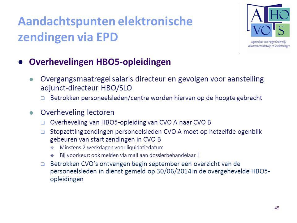 Aandachtspunten elektronische zendingen via EPD Overhevelingen HBO5-opleidingen Overgangsmaatregel salaris directeur en gevolgen voor aanstelling adju