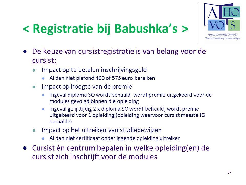 De keuze van cursistregistratie is van belang voor de cursist: Impact op te betalen inschrijvingsgeld Al dan niet plafond 460 of 575 euro bereiken Imp