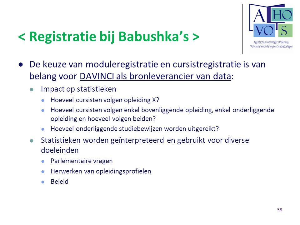 De keuze van moduleregistratie en cursistregistratie is van belang voor DAVINCI als bronleverancier van data: Impact op statistieken Hoeveel cursisten