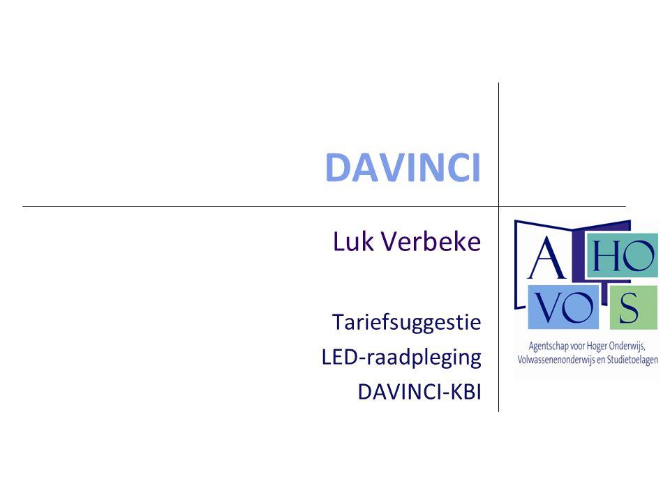 DAVINCI Luk Verbeke Tariefsuggestie LED-raadpleging DAVINCI-KBI