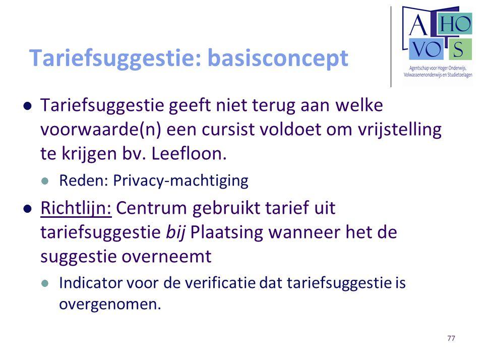 Tariefsuggestie: basisconcept Tariefsuggestie geeft niet terug aan welke voorwaarde(n) een cursist voldoet om vrijstelling te krijgen bv. Leefloon. Re
