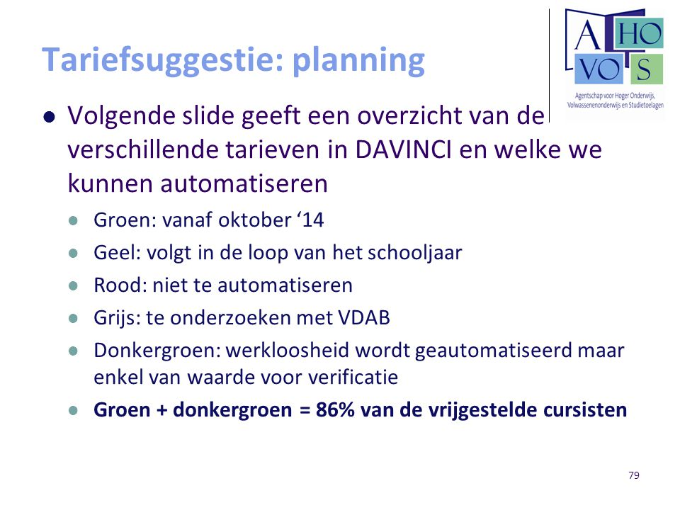 Tariefsuggestie: planning Volgende slide geeft een overzicht van de verschillende tarieven in DAVINCI en welke we kunnen automatiseren Groen: vanaf ok