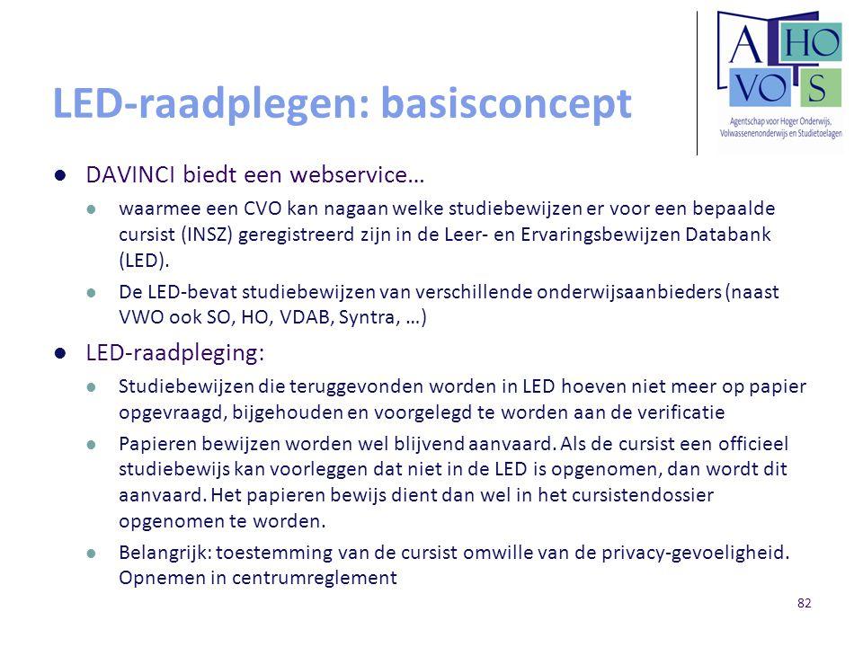 LED-raadplegen: basisconcept DAVINCI biedt een webservice… waarmee een CVO kan nagaan welke studiebewijzen er voor een bepaalde cursist (INSZ) geregis