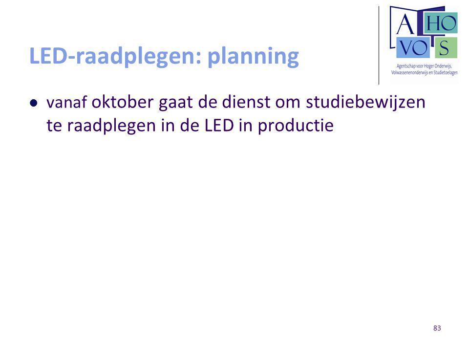 LED-raadplegen: planning vanaf oktober gaat de dienst om studiebewijzen te raadplegen in de LED in productie 83