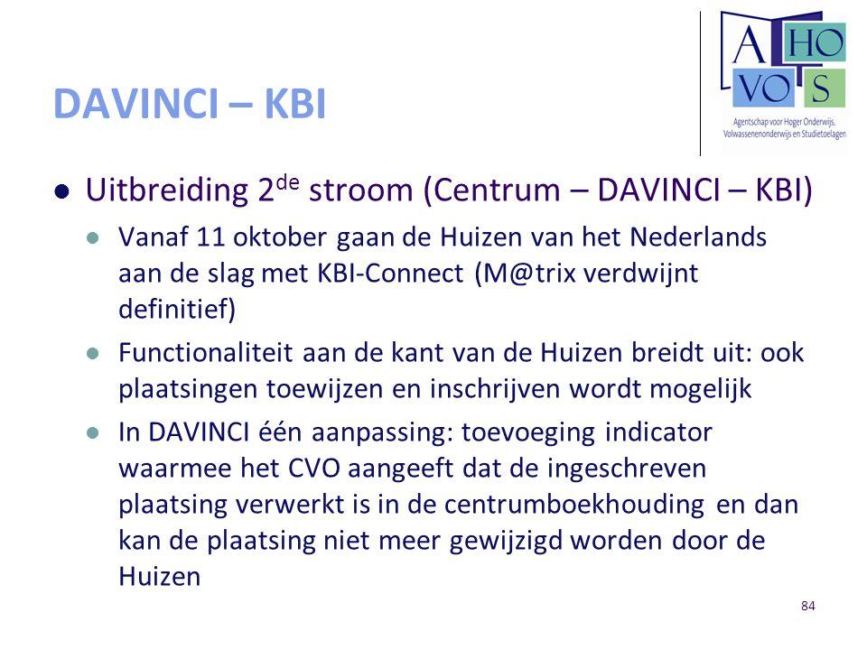 DAVINCI – KBI Uitbreiding 2 de stroom (Centrum – DAVINCI – KBI) Vanaf 11 oktober gaan de Huizen van het Nederlands aan de slag met KBI-Connect (M@trix