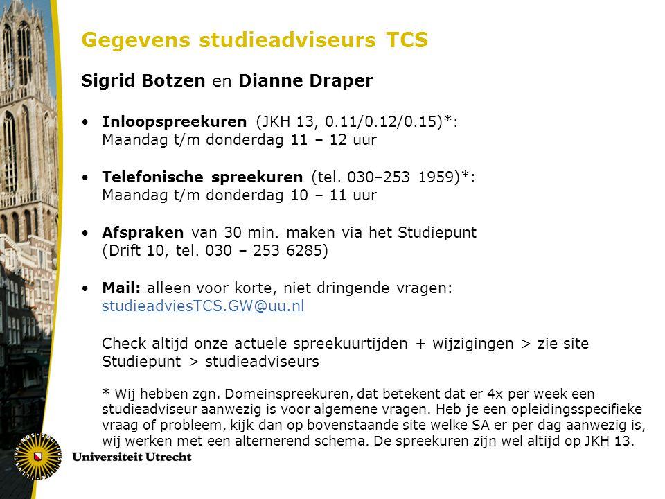 Gegevens studieadviseurs TCS Sigrid Botzen en Dianne Draper Inloopspreekuren (JKH 13, 0.11/0.12/0.15)*: Maandag t/m donderdag 11 – 12 uur Telefonische