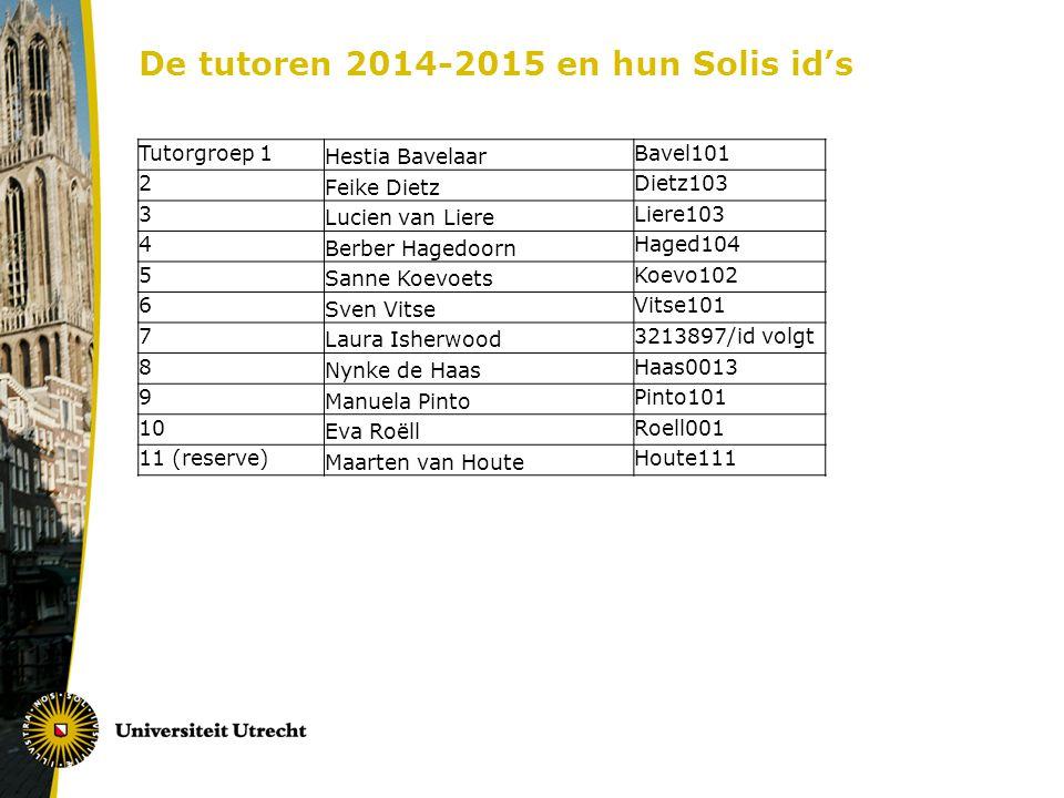 De tutoren 2014-2015 en hun Solis id's Tutorgroep 1 Hestia Bavelaar Bavel101 2 Feike Dietz Dietz103 3 Lucien van Liere Liere103 4 Berber Hagedoorn Hag
