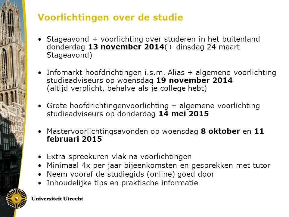 Voorlichtingen over de studie Stageavond + voorlichting over studeren in het buitenland donderdag 13 november 2014(+ dinsdag 24 maart Stageavond) Info