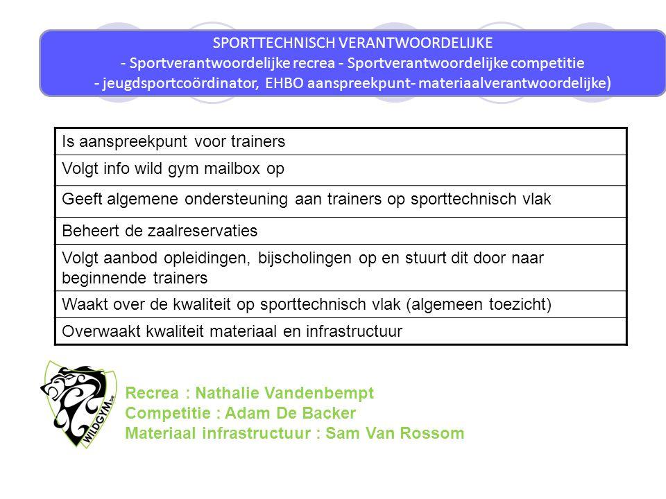 SPORTTECHNISCH VERANTWOORDELIJKE - Sportverantwoordelijke recrea - Sportverantwoordelijke competitie - jeugdsportcoördinator, EHBO aanspreekpunt- mate