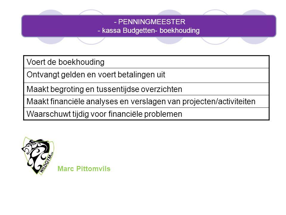 - PENNINGMEESTER - kassa Budgetten- boekhouding Voert de boekhouding Ontvangt gelden en voert betalingen uit Maakt begroting en tussentijdse overzicht