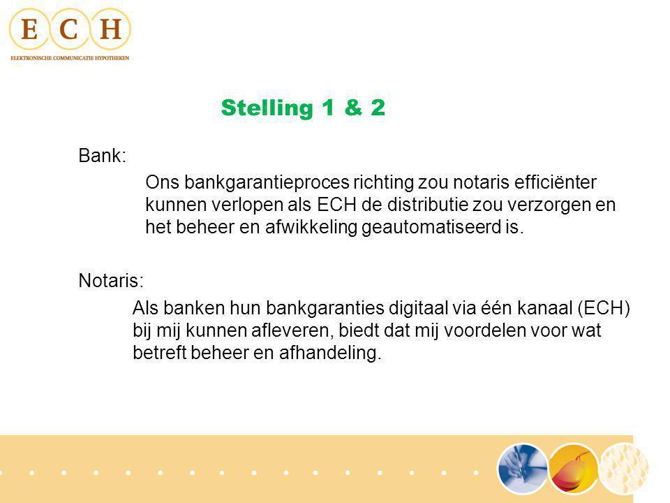 Bank: Ons bankgarantieproces richting zou notaris efficiënter kunnen verlopen als ECH de distributie zou verzorgen en het beheer en afwikkeling geautomatiseerd is.