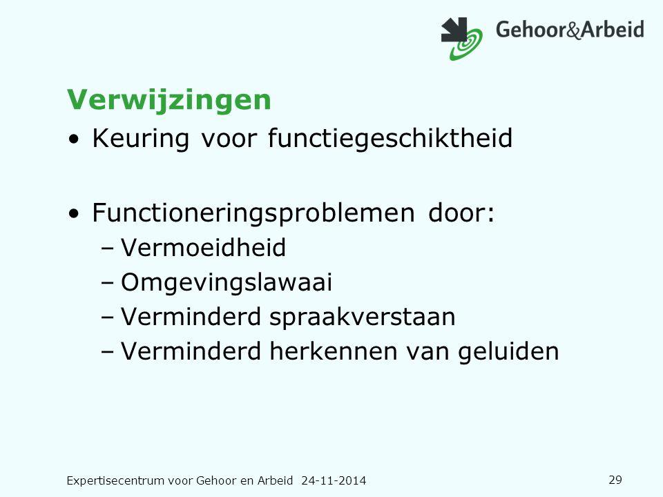 Expertisecentrum voor Gehoor en Arbeid 24-11-201429 Verwijzingen Keuring voor functiegeschiktheid Functioneringsproblemen door: –Vermoeidheid –Omgevin
