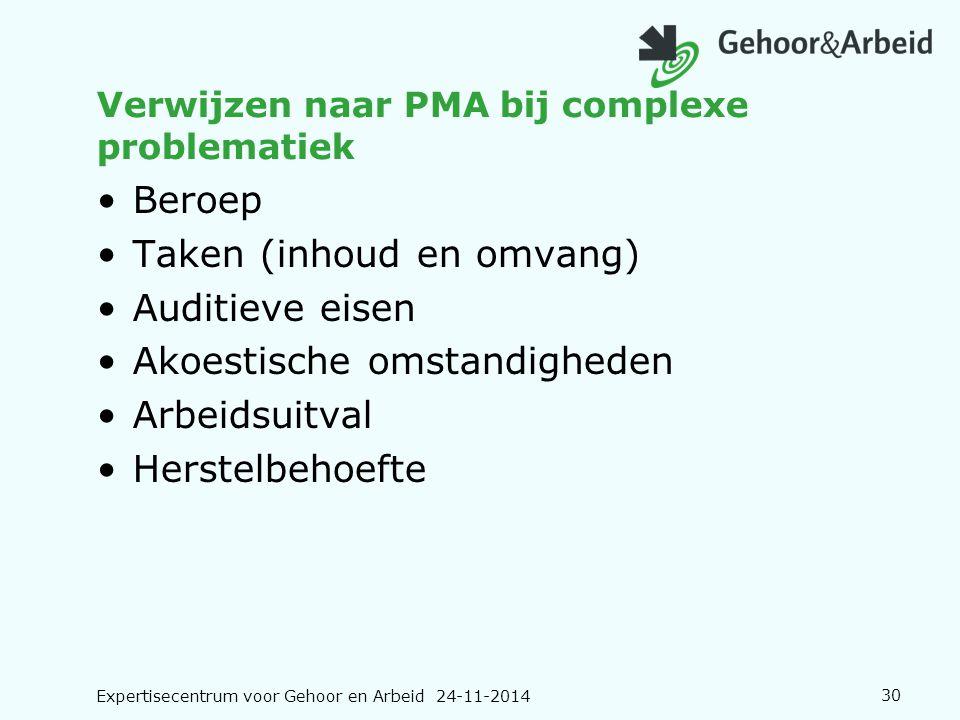 Expertisecentrum voor Gehoor en Arbeid 24-11-201430 Verwijzen naar PMA bij complexe problematiek Beroep Taken (inhoud en omvang) Auditieve eisen Akoes