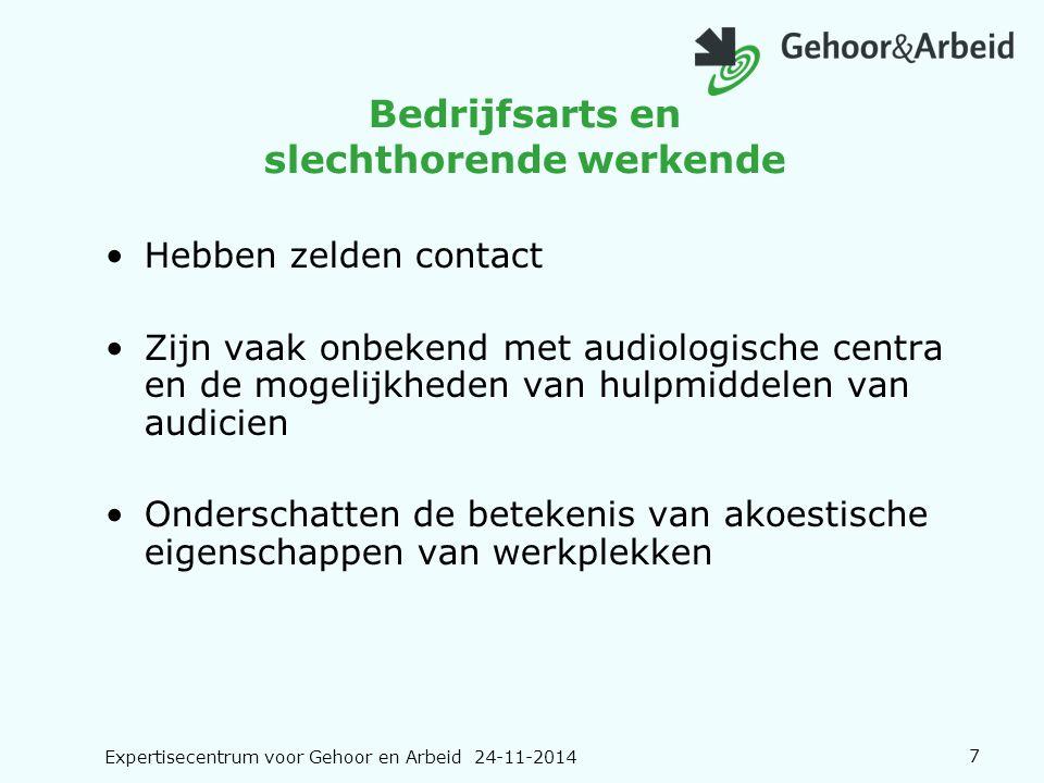 Expertisecentrum voor Gehoor en Arbeid 24-11-20147 Bedrijfsarts en slechthorende werkende Hebben zelden contact Zijn vaak onbekend met audiologische c