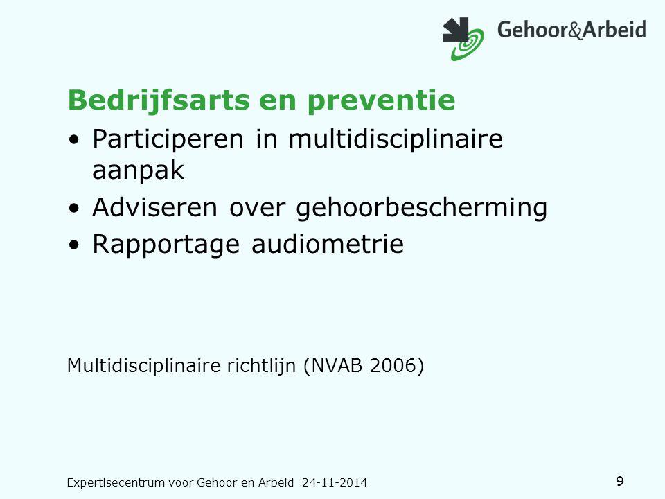Bedrijfsarts en preventie Participeren in multidisciplinaire aanpak Adviseren over gehoorbescherming Rapportage audiometrie Multidisciplinaire richtli