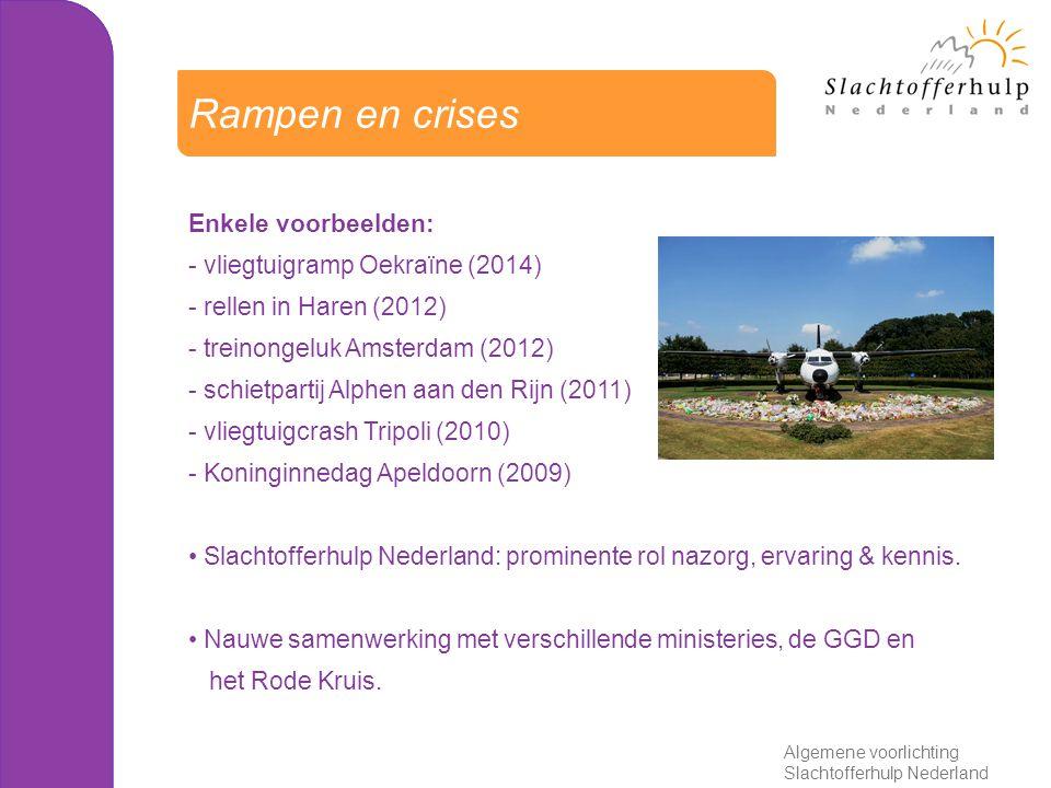 Enkele voorbeelden: - vliegtuigramp Oekraïne (2014) - rellen in Haren (2012) - treinongeluk Amsterdam (2012) - schietpartij Alphen aan den Rijn (2011) - vliegtuigcrash Tripoli (2010) - Koninginnedag Apeldoorn (2009) Slachtofferhulp Nederland: prominente rol nazorg, ervaring & kennis.