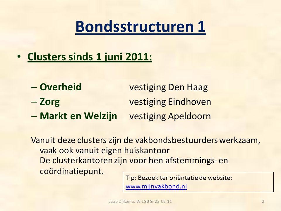 Bondsstructuren 1 Clusters sinds 1 juni 2011: – Overheid vestiging Den Haag – Zorg vestiging Eindhoven – Markt en Welzijn vestiging Apeldoorn Vanuit d