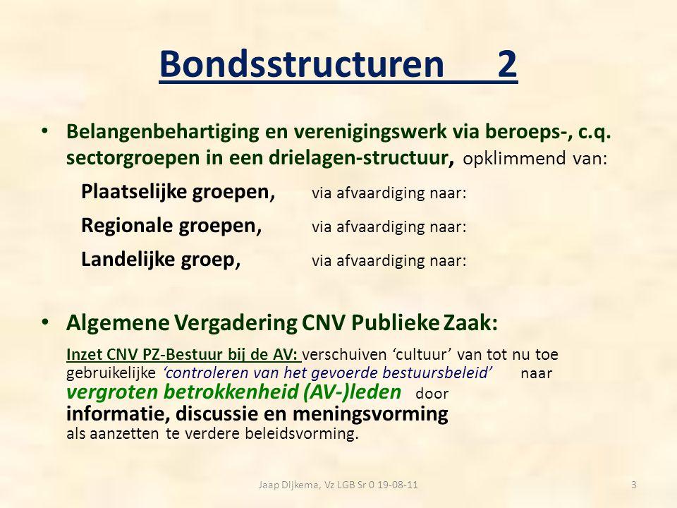 Bondsstructuren2 Belangenbehartiging en verenigingswerk via beroeps-, c.q. sectorgroepen in een drielagen-structuur, opklimmend van: Plaatselijke groe