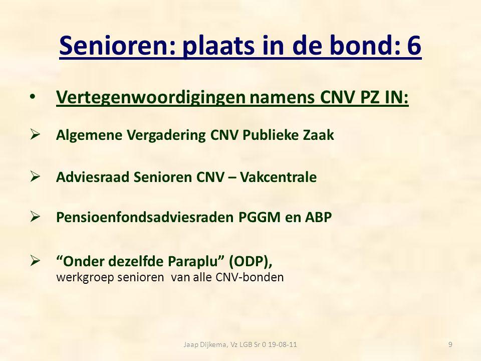 Senioren: plaats in de bond: 6 Vertegenwoordigingen namens CNV PZ IN:  Algemene Vergadering CNV Publieke Zaak  Adviesraad Senioren CNV – Vakcentrale