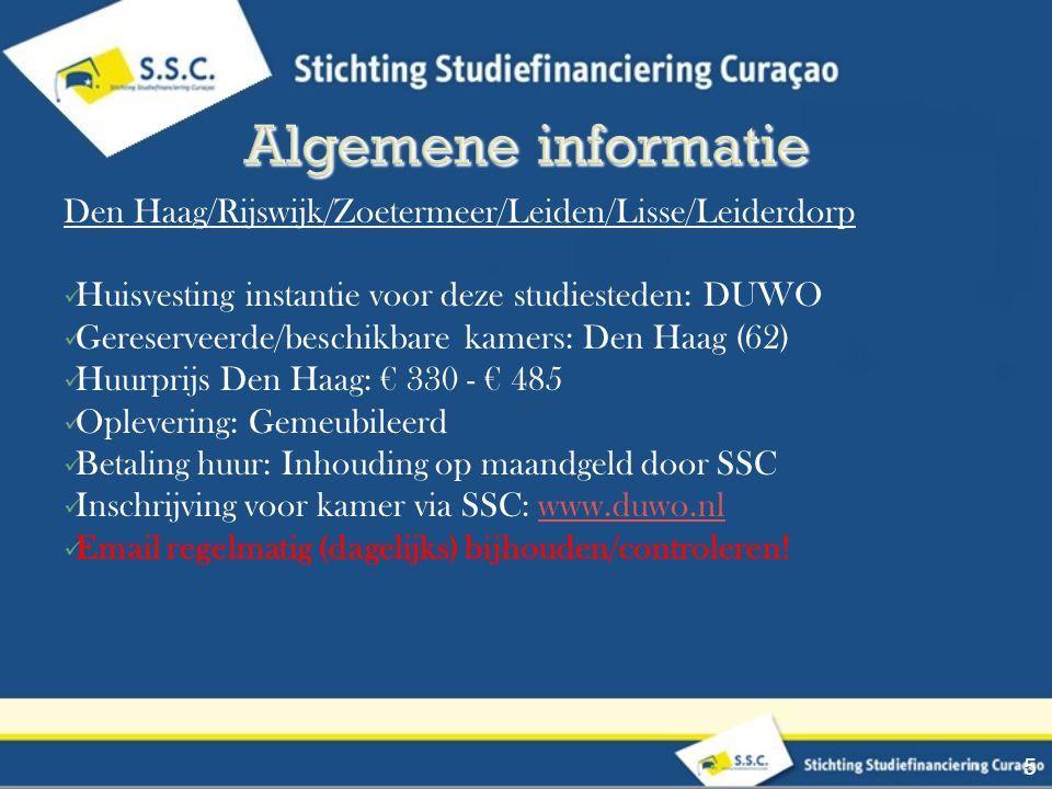 Den Haag/Rijswijk/Zoetermeer/Leiden/Lisse/Leiderdorp Huisvesting instantie voor deze studiesteden: DUWO Gereserveerde/beschikbare kamers: Den Haag (62