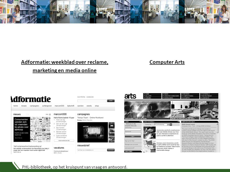 PHL-bibliotheek, op het kruispunt van vraag en antwoord. Adformatie: weekblad over reclame, marketing en media online Computer Arts