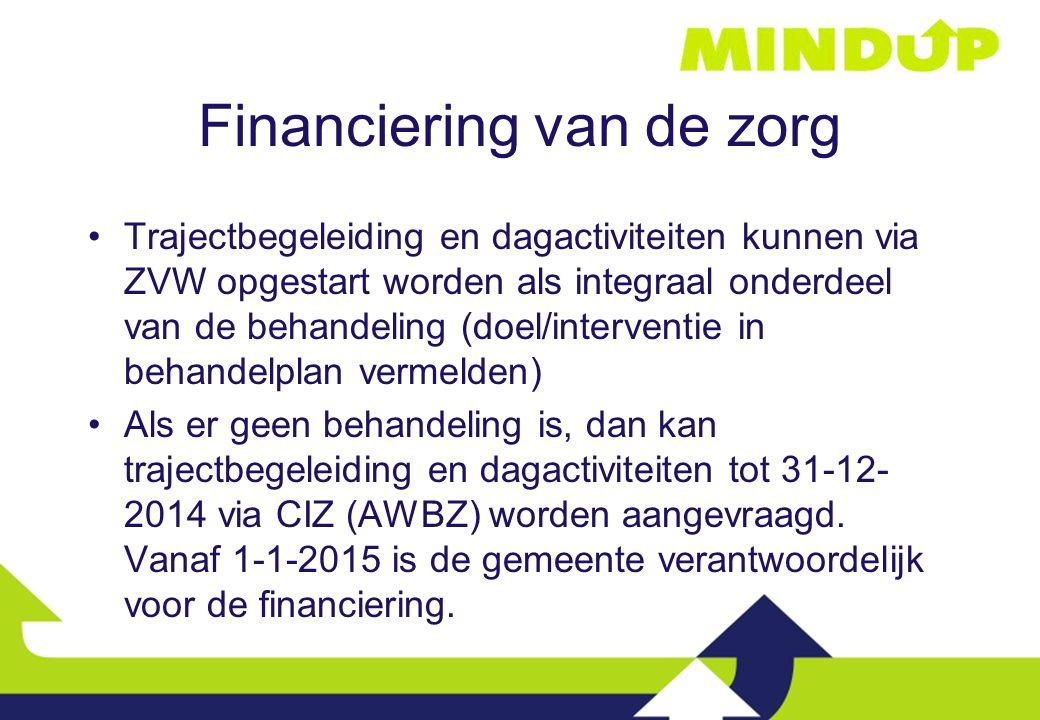Financiering van de zorg Trajectbegeleiding en dagactiviteiten kunnen via ZVW opgestart worden als integraal onderdeel van de behandeling (doel/interv