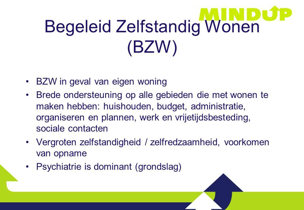 Aanmelden voor BZW Als persoon in behandeling is bij de GGZ, dan indiceert behandelaar BZW (Zorgverzekeringswet) Als persoon niet in behandeling is bij de GGZ en wel BZW behoeft, dan aanmelden via Aanmelding Mind-Up (financiering gemeente, voorheen AWBZ)