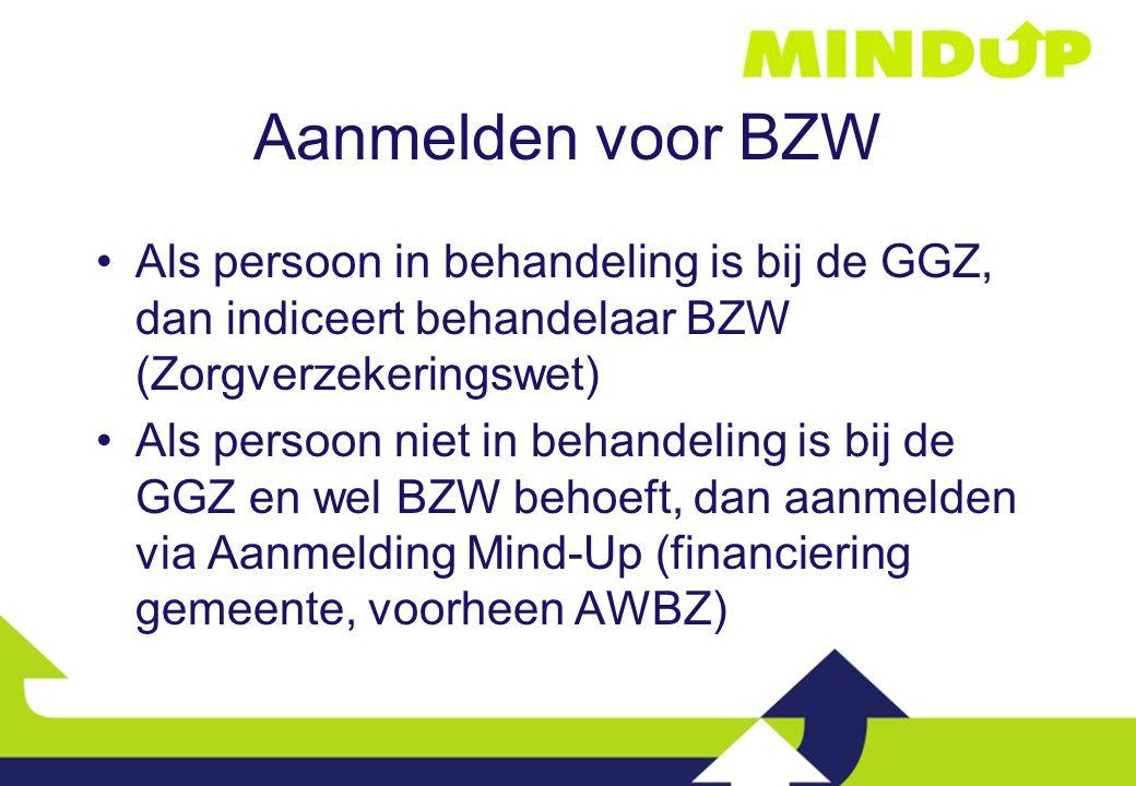 Aanmelden voor BZW Als persoon in behandeling is bij de GGZ, dan indiceert behandelaar BZW (Zorgverzekeringswet) Als persoon niet in behandeling is bi