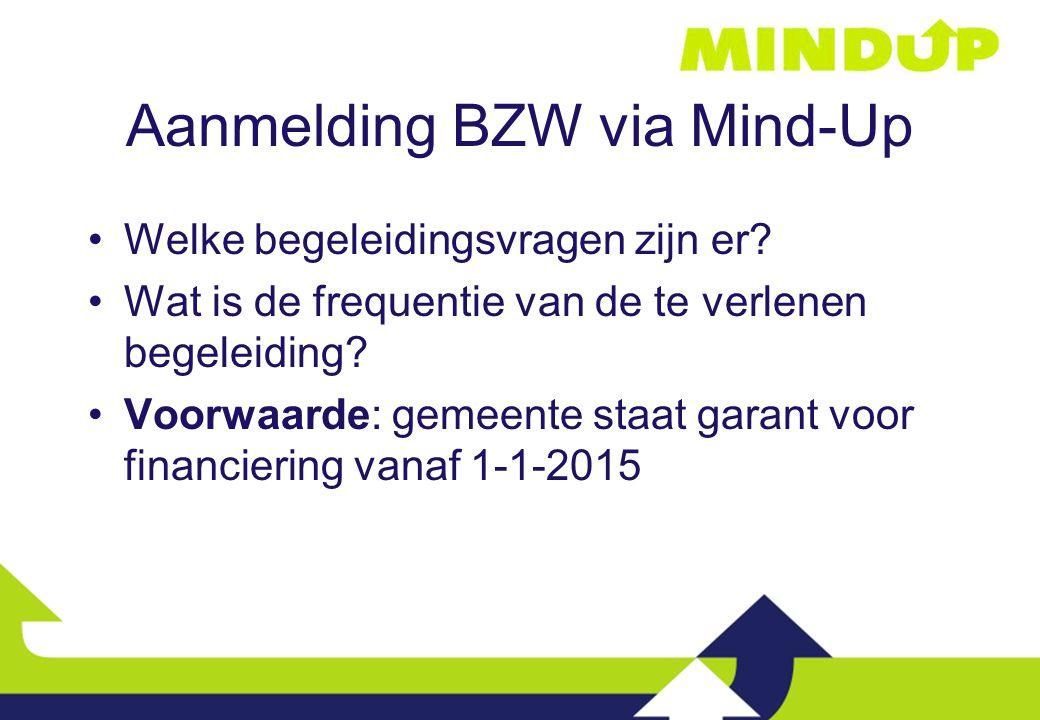Aanmelding BZW via Mind-Up Welke begeleidingsvragen zijn er? Wat is de frequentie van de te verlenen begeleiding? Voorwaarde: gemeente staat garant vo