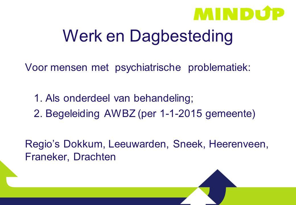 Werk en Dagbesteding Voor mensen met psychiatrische problematiek: 1. Als onderdeel van behandeling; 2. Begeleiding AWBZ (per 1-1-2015 gemeente) Regio'