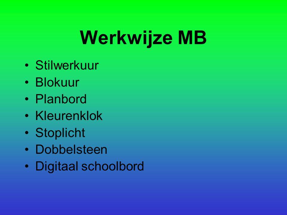 Werkwijze MB Stilwerkuur Blokuur Planbord Kleurenklok Stoplicht Dobbelsteen Digitaal schoolbord