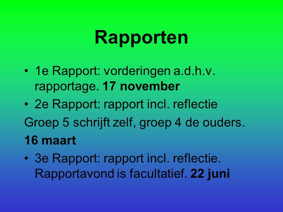 Rapporten 1e Rapport: vorderingen a.d.h.v. rapportage. 17 november 2e Rapport: rapport incl. reflectie Groep 5 schrijft zelf, groep 4 de ouders. 16 ma