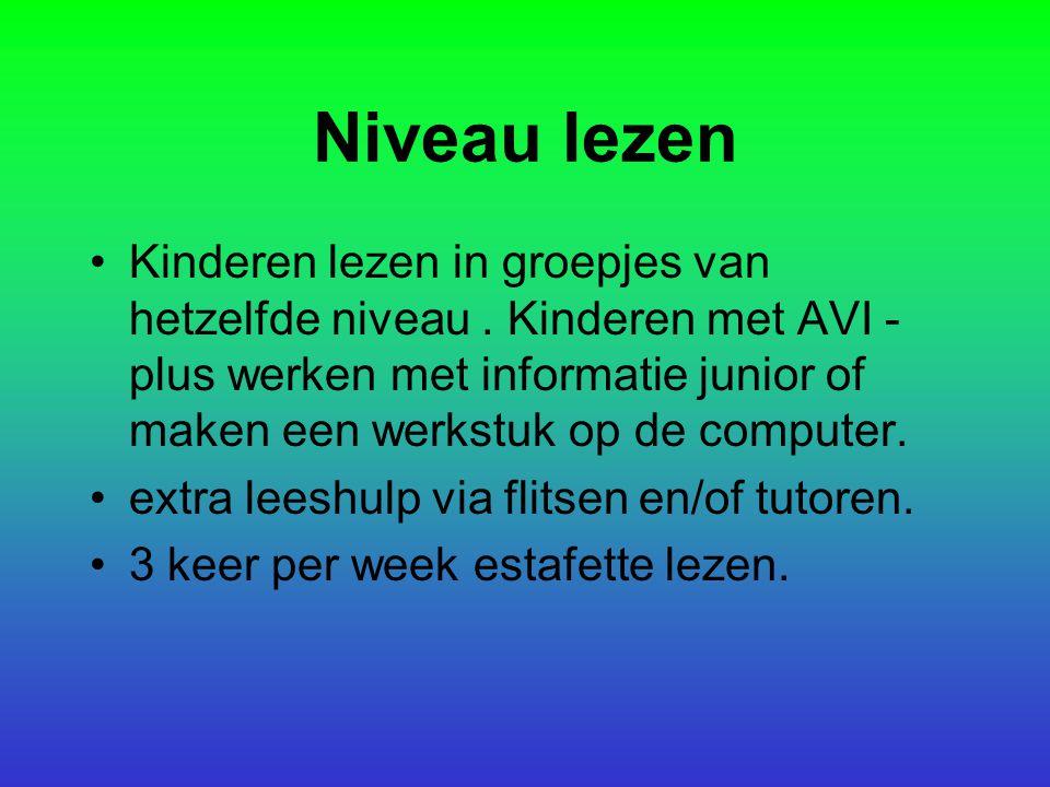 Niveau lezen Kinderen lezen in groepjes van hetzelfde niveau. Kinderen met AVI - plus werken met informatie junior of maken een werkstuk op de compute