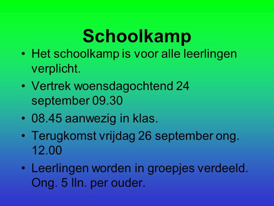 Schoolkamp Het schoolkamp is voor alle leerlingen verplicht. Vertrek woensdagochtend 24 september 09.30 08.45 aanwezig in klas. Terugkomst vrijdag 26