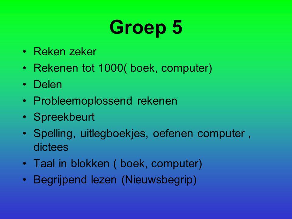 Groep 5 Reken zeker Rekenen tot 1000( boek, computer) Delen Probleemoplossend rekenen Spreekbeurt Spelling, uitlegboekjes, oefenen computer, dictees T