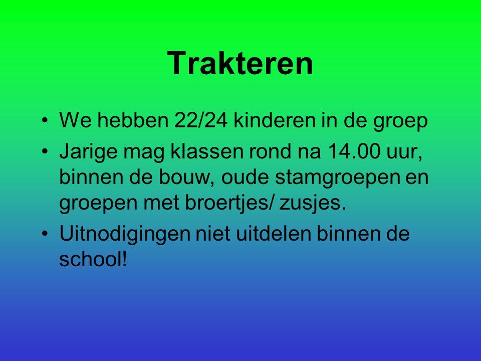 Trakteren We hebben 22/24 kinderen in de groep Jarige mag klassen rond na 14.00 uur, binnen de bouw, oude stamgroepen en groepen met broertjes/ zusjes