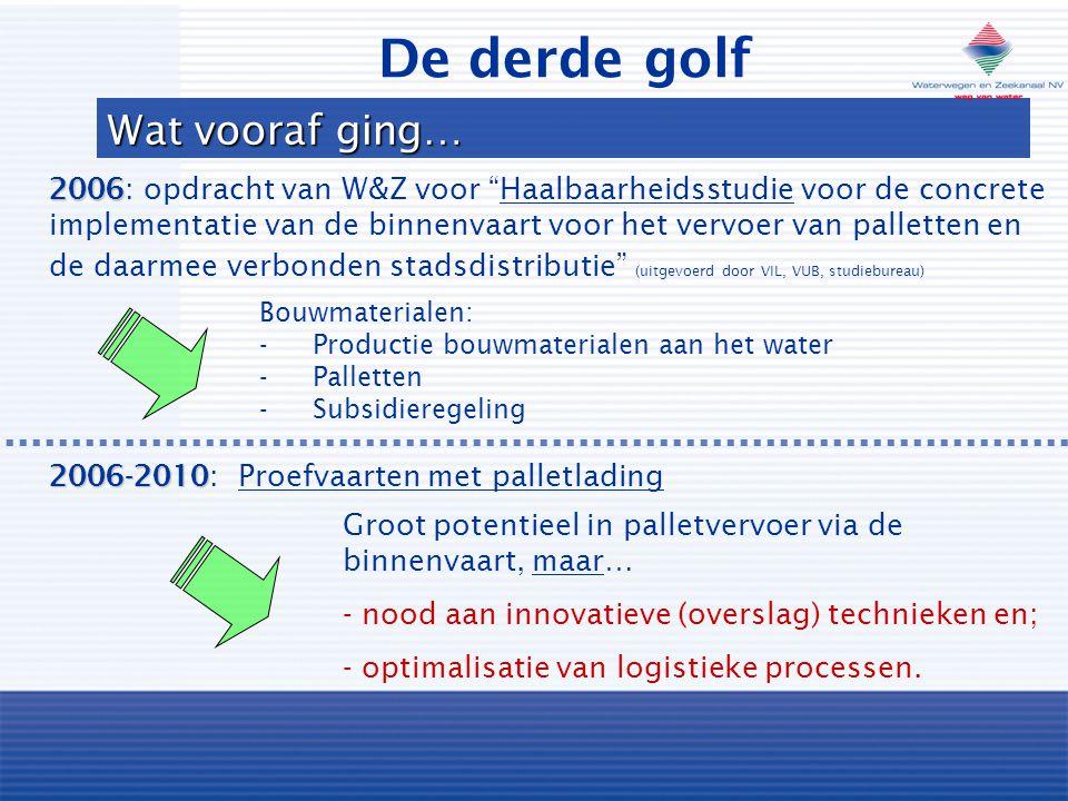 Wat vooraf ging… 2006 2006: opdracht van W&Z voor Haalbaarheidsstudie voor de concrete implementatie van de binnenvaart voor het vervoer van palletten en de daarmee verbonden stadsdistributie (uitgevoerd door VIL, VUB, studiebureau) 2006-2010 2006-2010: Proefvaarten met palletlading Groot potentieel in palletvervoer via de binnenvaart, maar… - nood aan innovatieve (overslag) technieken en; - optimalisatie van logistieke processen.