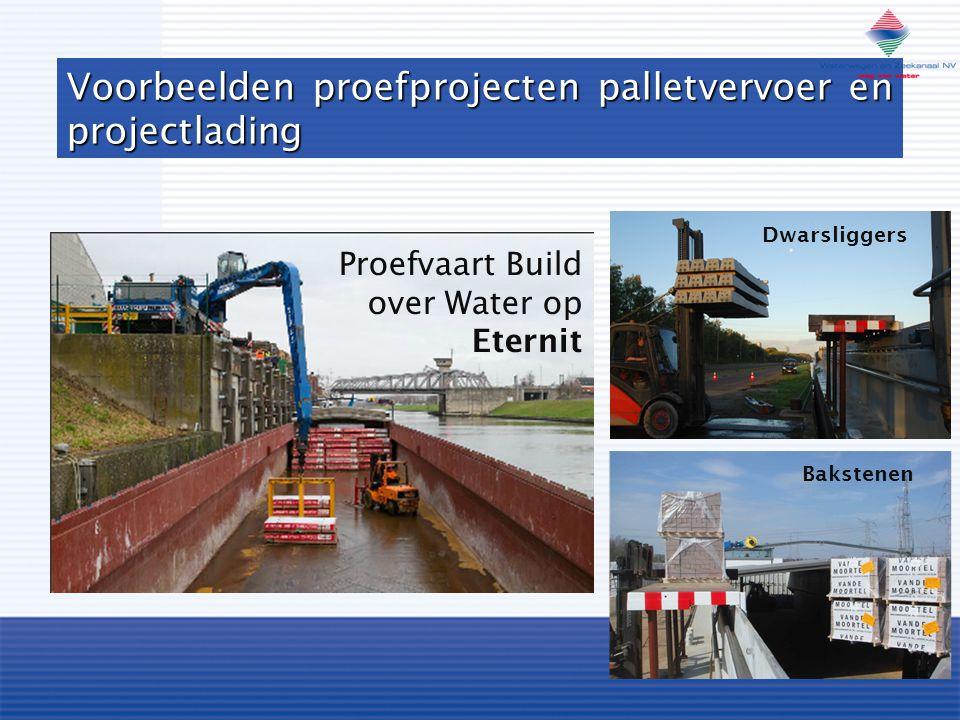 Voorbeelden proefprojecten palletvervoer en projectlading Proefvaart Build over Water op Eternit Dwarsliggers Bakstenen