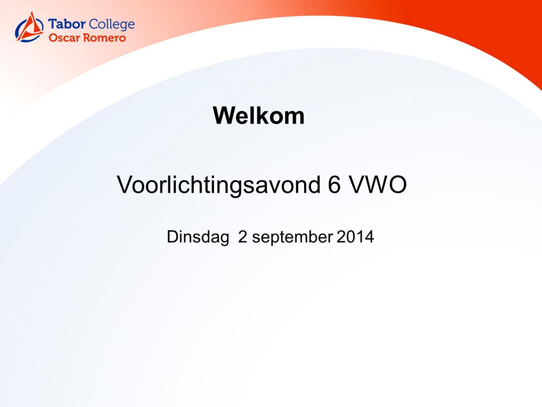 Welkom Dinsdag 2 september 2014 Voorlichtingsavond 6 VWO