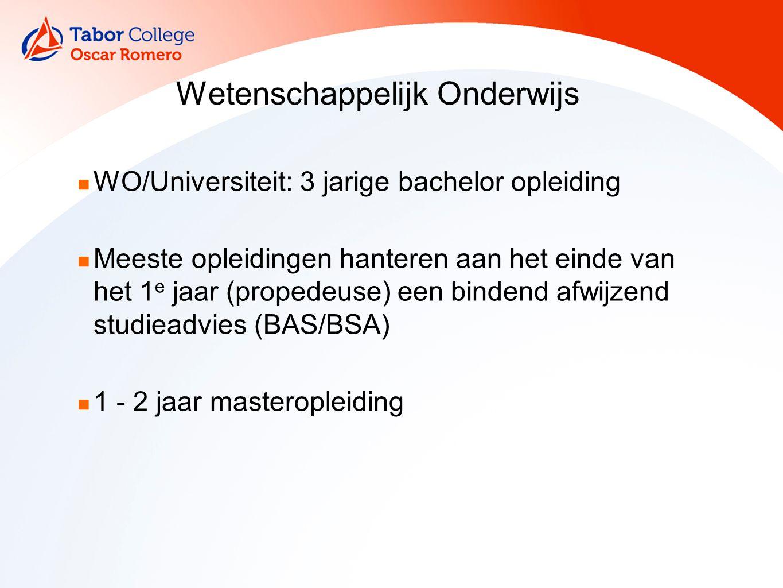 Wetenschappelijk Onderwijs WO/Universiteit: 3 jarige bachelor opleiding Meeste opleidingen hanteren aan het einde van het 1 e jaar (propedeuse) een bindend afwijzend studieadvies (BAS/BSA) 1 - 2 jaar masteropleiding