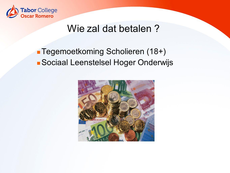 Wie zal dat betalen ? Tegemoetkoming Scholieren (18+) Sociaal Leenstelsel Hoger Onderwijs