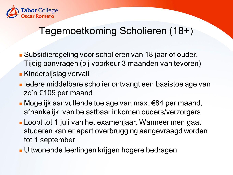 Tegemoetkoming Scholieren (18+) Subsidieregeling voor scholieren van 18 jaar of ouder.