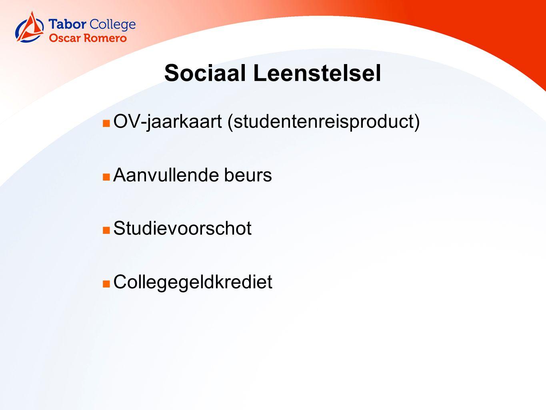 Sociaal Leenstelsel OV-jaarkaart (studentenreisproduct) Aanvullende beurs Studievoorschot Collegegeldkrediet
